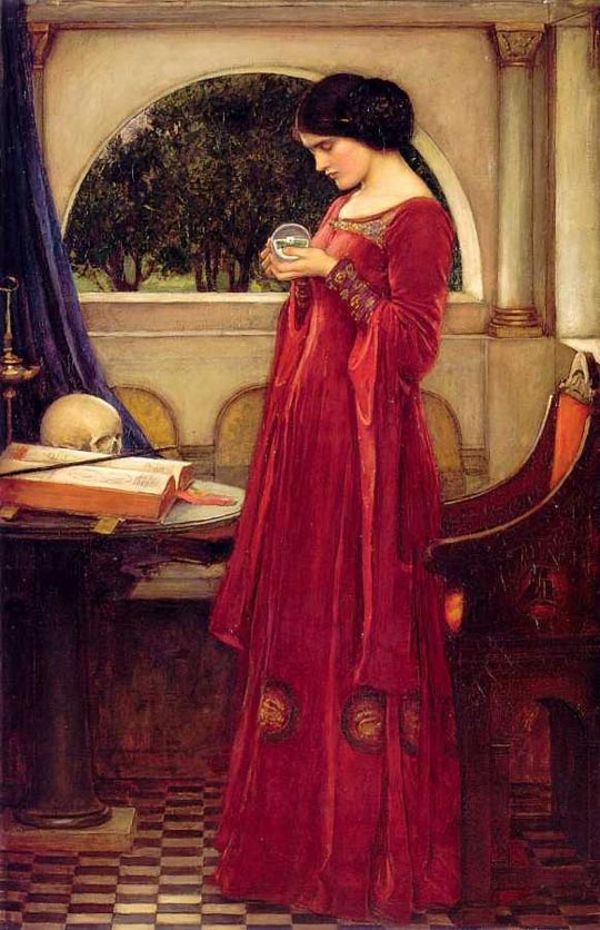 John William Waterhouse The Crystal Ball with the skull,Crystal Ball in Painting, oil paintings, canvas painting,Figurative painting