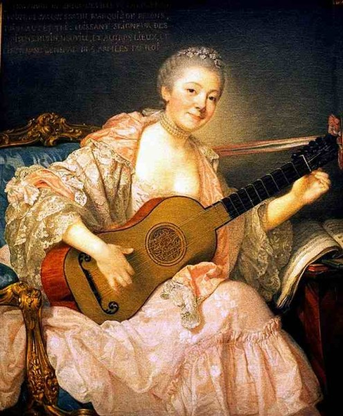 Women and Music in Painting 16-18th c, Jean-Baptiste Greuze, Ann Marie Bezin with Guitar
