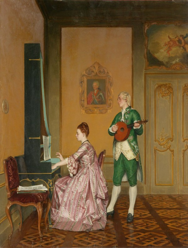 Women and Music in Painting 16-18th c, Albert Glibert Interior With Musicians