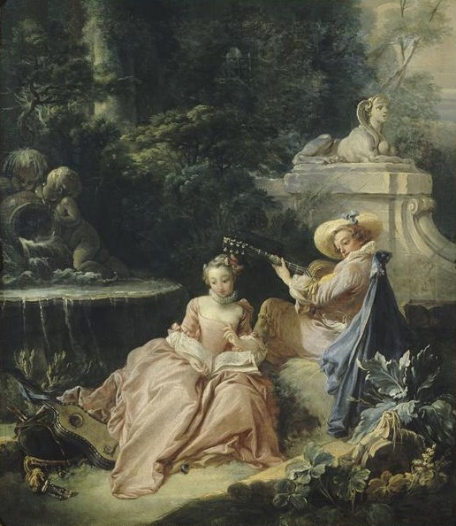 Women and Music in Painting 16-18th c, Francois Boucher The Music Lesson