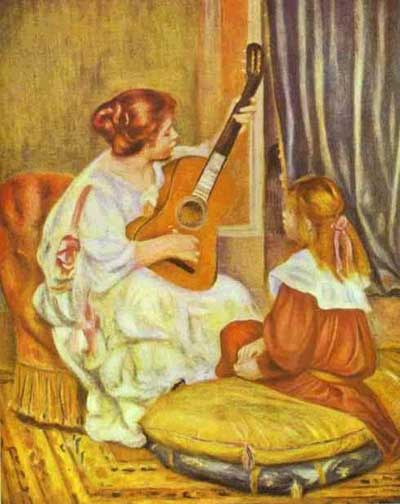 Women and Music in Painting 16-18th c, Pierre-Auguste Renoir, Guitar Lesson