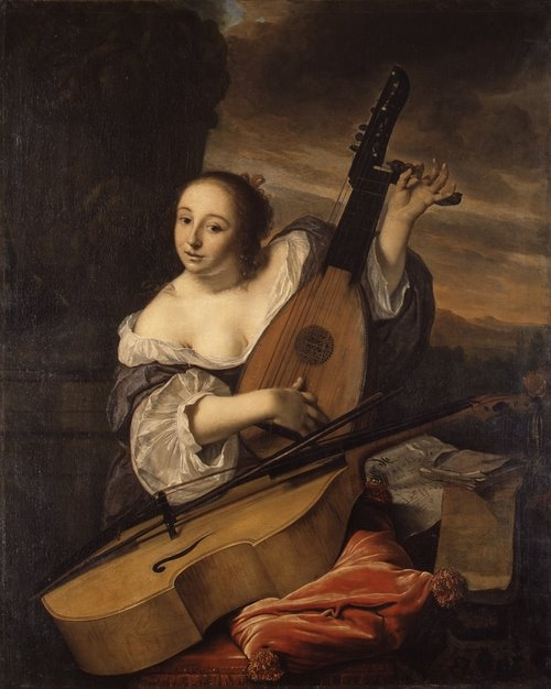 Women and Music in Painting 16-18th c, Bartholomeus van der Helst The Musician