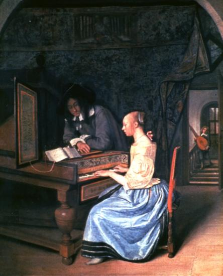 Women and Music in Painting 16-18th c, Jan STEEN, A Young Woman playing a Harpsichord