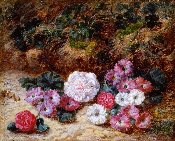 19th c. British artists, flower oil painting,Victorian/Edwardian artists,Clare