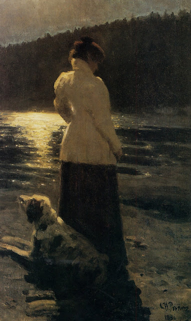 Landscape oil painting,figurative painting,moon in painting,Painting by Ilya Repin