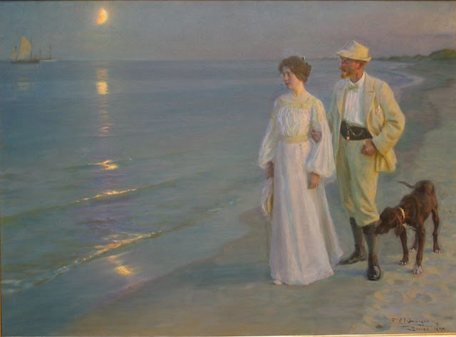 Painting by Peter Severin Krøyer,Landscape oil painting,figurative painting,moon in painting