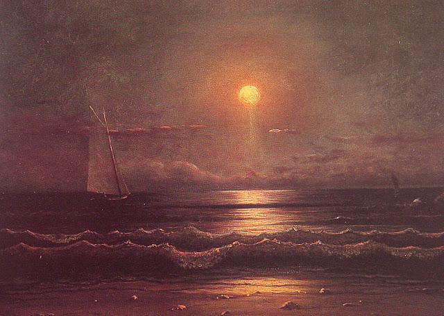 Painting by Martin Johnson Heade,Landscape oil painting,figurative painting,moon in painting