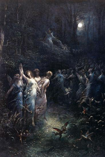 Painting by Gustave Doré,Landscape oil painting,figurative painting,moon in painting