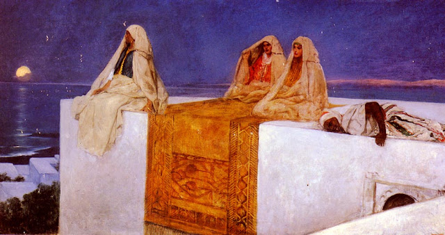 Painting by Jean-Joseph Benjamin-Constant,Landscape oil painting,figurative painting,moon in painting