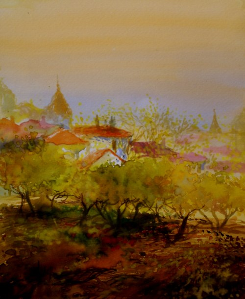 Ivan Dodov, Contemporary Bulgarian Artist, watercolor landscapes, Spring Trees