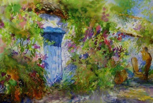Ivan Dodov, Contemporary Bulgarian Artist, watercolor landscapes, Summer Garden