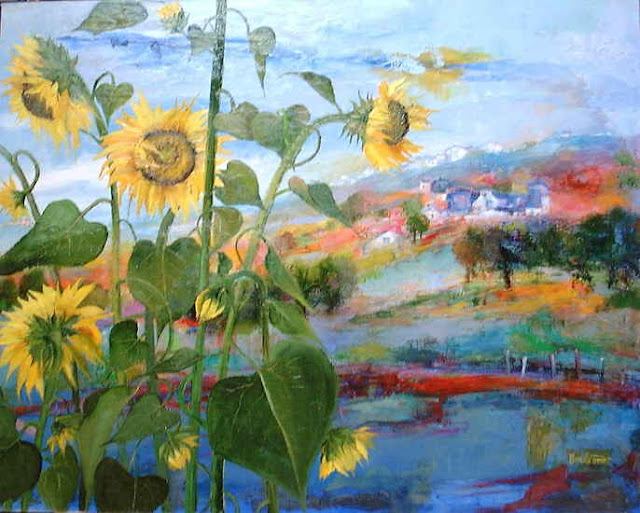 Maurille Prevost. French painter, french artist of 20th century,Sunflowers in the Countryside