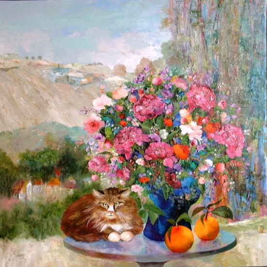 Maurille Prevost. French painter, french artist of 20th century,Flowers, Fruits and a Cat
