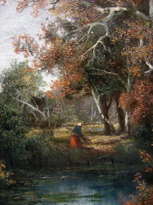 Alois Arnegger. Autumn Forest with a Peasant Figure