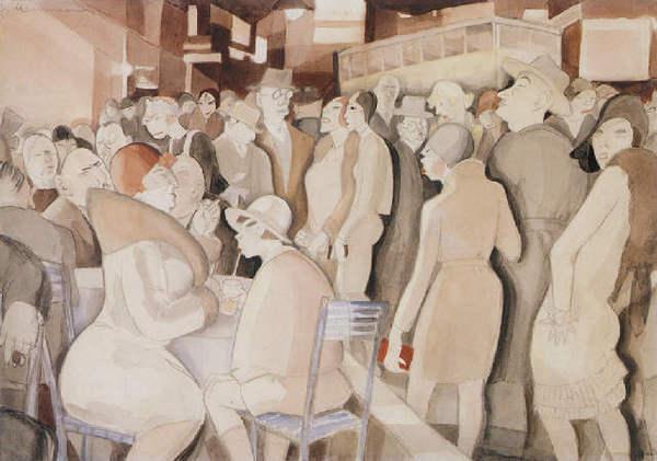 Jeanne Mammen, German artist,Weimar era artist, graphics,  Berlin Street Scene, 1927