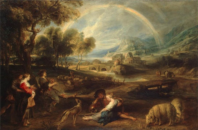 Peter Paul Rubens. Landscape with a Rainbow, Summer Day in the Countryside. Summer Themed Oil Paintings