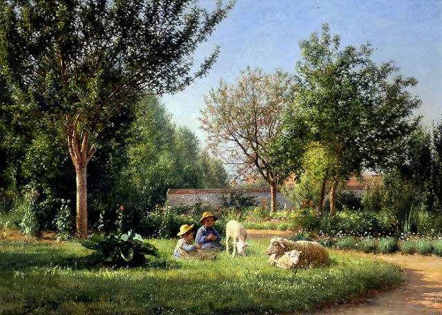 Jean Ferdinand Chaigneau, Summer Day in the Countryside. Summer Themed Oil Paintings