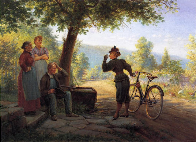 Edward Lamson Henry. The New Woman, 1893, Summer Day in the Countryside. Summer Themed Oil Paintings