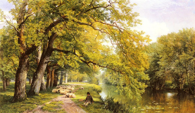 Frederick William Hulme. At Ockham Surrey In Summer,Summer Day in the Countryside. Summer Themed Oil Paintings