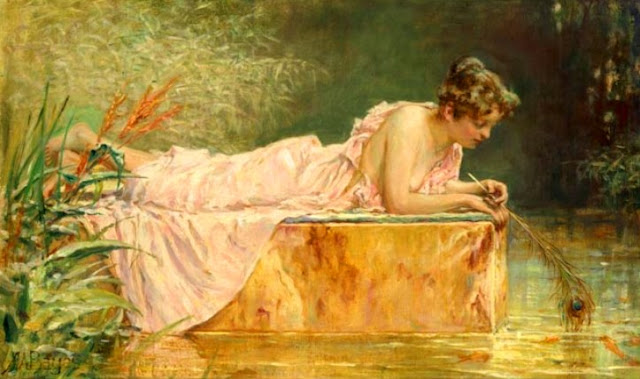 Alfred Walter Bayes painting, Goldfish in Painting