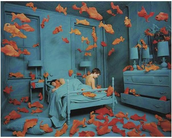 Sandy Skoglund painting,Goldfish in Painting