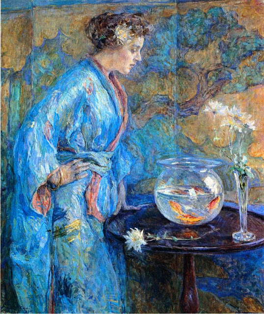 Reid Robert Lewis painting,Goldfish in Painting,girl in a blue kimono