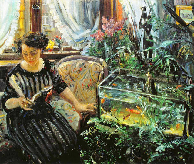 Lovis Corinth painting,woman by a goldfish tank,Goldfish in Painting