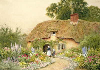 Arthur Claude Strachan. A Devone Cottage. Watercolor
