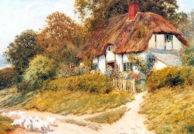 Arthur Claude Strachan. Sheep Outside a Cottage