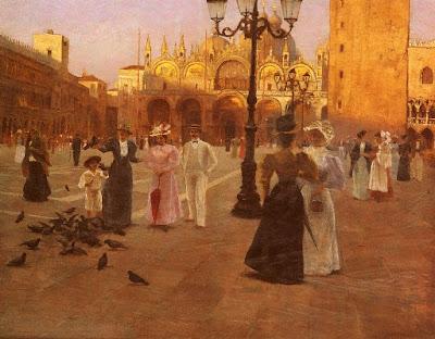 Romolo Tessari, Piazza San Marco, Venice. Oil Painting