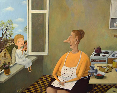 Valentin Gubarev's Oil Painting. Angels love sausage