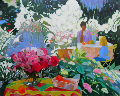 Painting by Georges Blouin. Summer. In the Garden