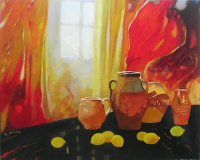Oil Painting by Georges Blouin. Pottery