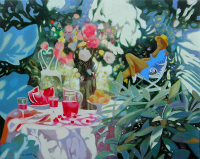 Painting by Georges Blouin. Fruits and Flowers in the Garden