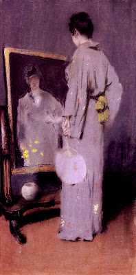 Japonisme. Paintings of Beautiful Women. William Merritt Chase. Making Her Toilet