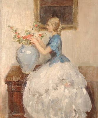 Walter Ernest Webster. Woman Tending to Flowers in Vase