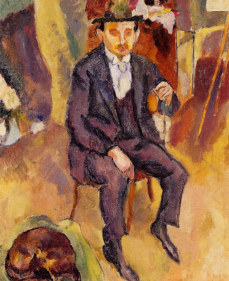 Jules Pascin. German Painter with Dog in the Sudio, 1922