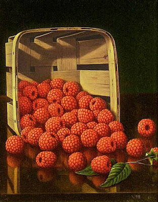 Levi Wells Prentice. American Still Life Artist. Basket of Raspberries