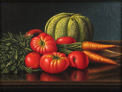 Levi Wells Prentice. Still Life with Cantaloupe, Tomatoes and Carrots