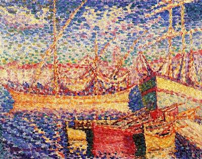 Boats in the Port of St.Tropez by Henri Edmond Cross