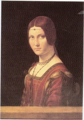Portraits of  Women of Italian Renaissance. Da Vinci. Portrait of a Lady of the Court of Milan