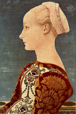 Portraits of  Women of Italian Renaissance. Antonio del Pollaiuolo. Portrait of a Young Woman