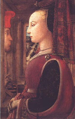 Portraits of  Women of Italian Renaissance. Fra Filippo Lippi. Woman with a Man at a Window