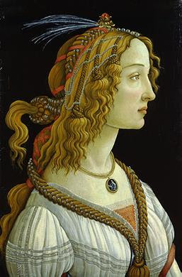 Portraits of  Women of Italian Renaissance. Sandro Boticelli. Young Woman