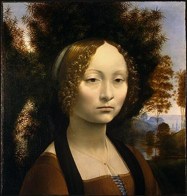 Portraits of  Women of Italian Renaissance. Leonardo Da Vinci. Ginevra de' Benci, 1474-78
