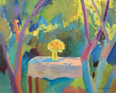 Russian Artist Ekaterina Reutova. Landscape. In the Garden