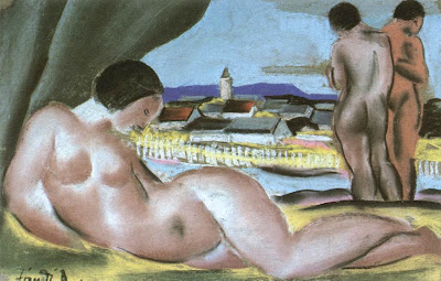Dvid Jndi, Hungarian Artist. View of Nagybnya with Nudes