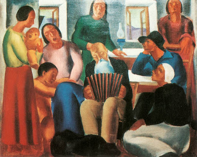 Dvid Jndi, Hungarian Artist. Singing Family, 1933, oil