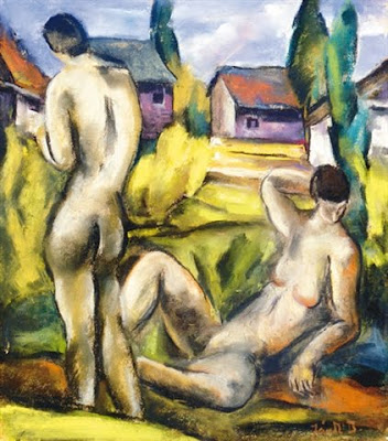 Dvid Jndi, Hungarian Artist. Nudes in Landscape