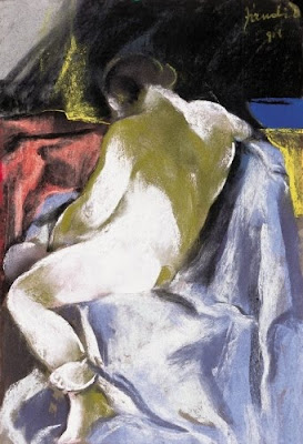 Jndi Dvid, Hungarian Artist. Female nude white lepellel, 1918